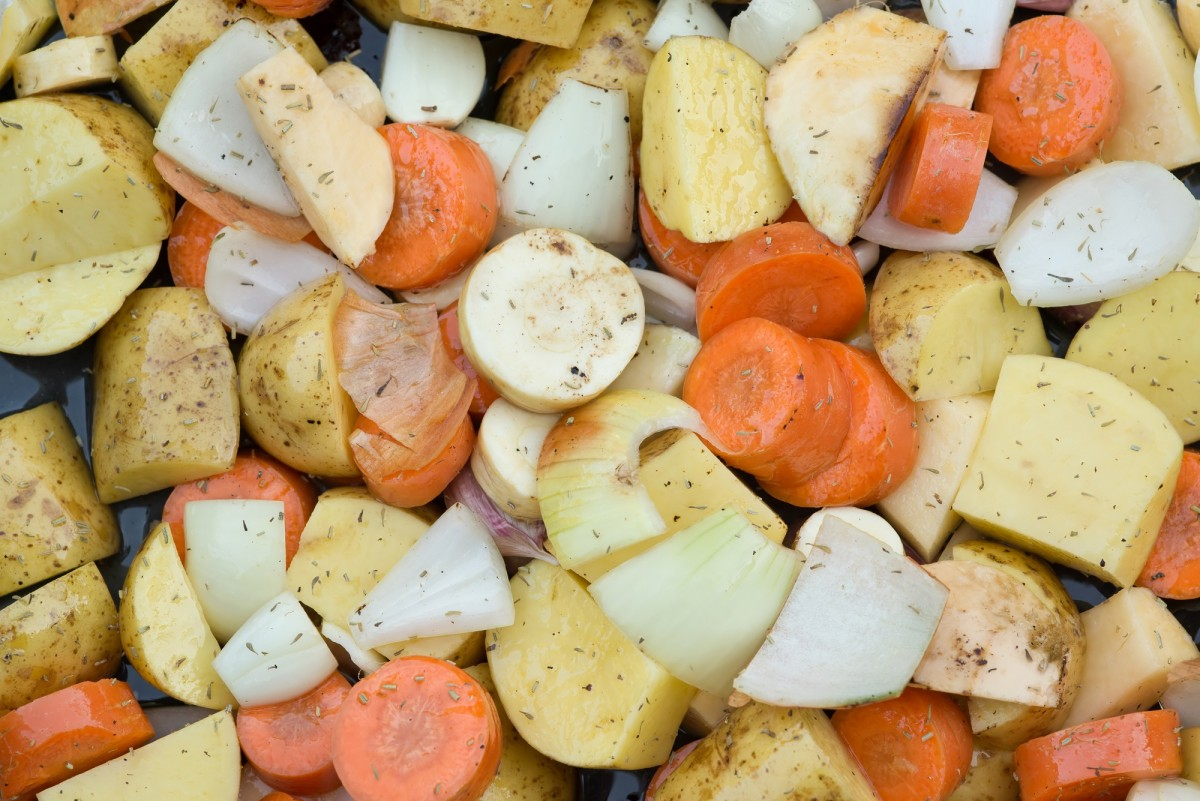Collection of seasonal Winter vegetables in roasting tray