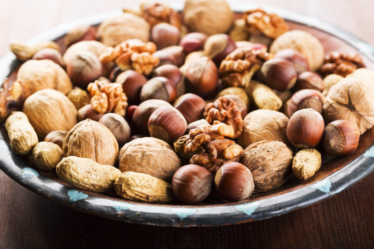 mix nuts on a plate