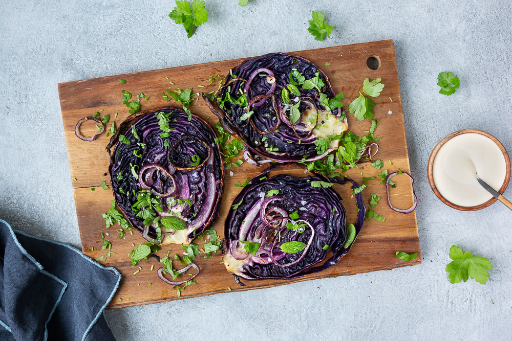 Red cabbage steaks