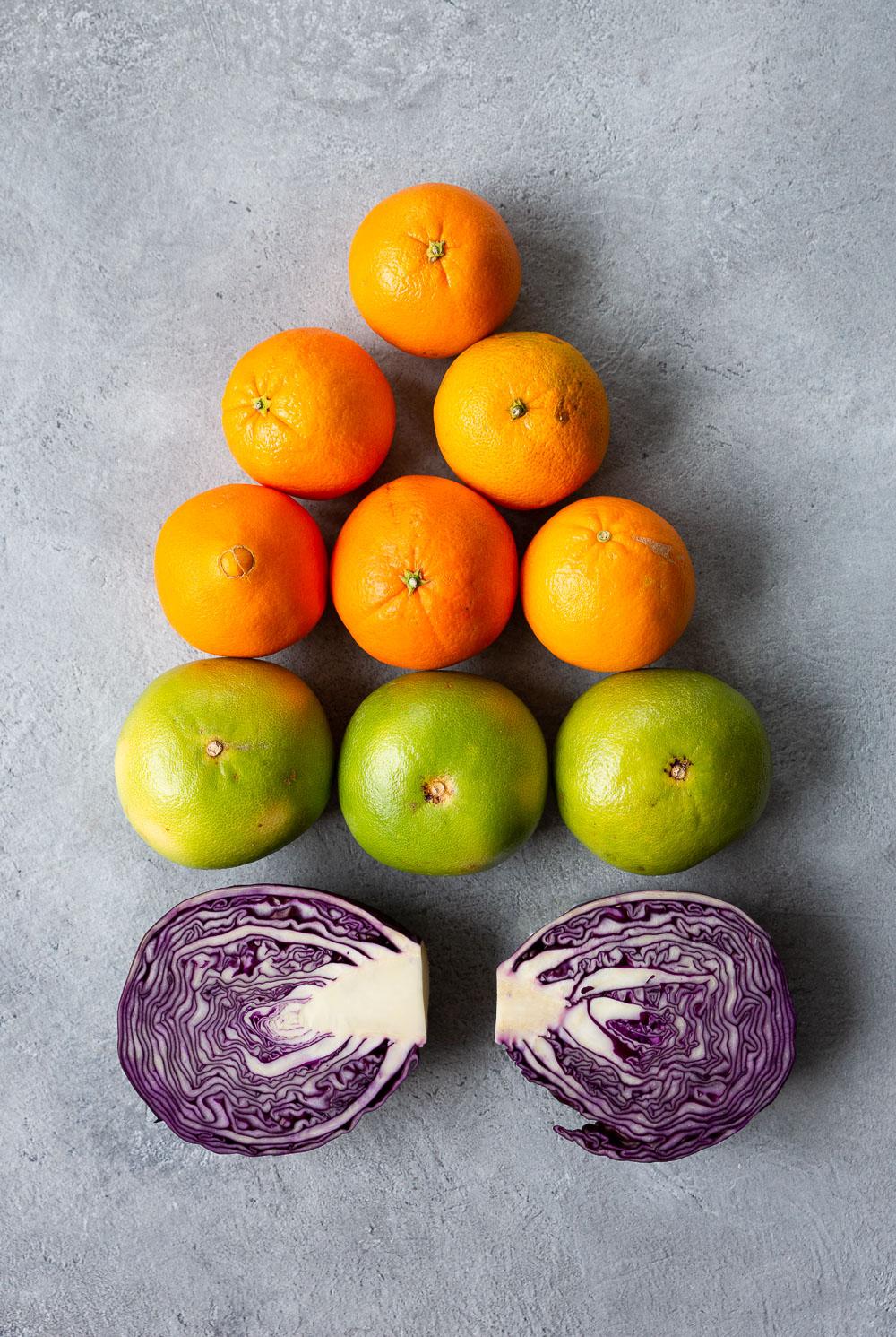 Appelsiini, sweetie ja punakaali